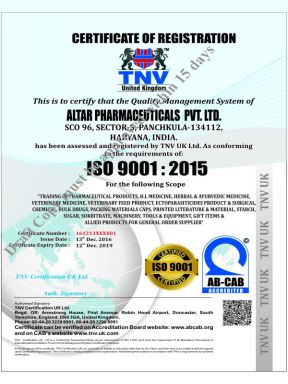 Altar Pharma Pvt Ltd - ISO Cert - Daksh Pharma