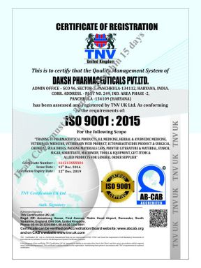 Daksh Pharma Pvt Ltd - ISO Cert - Daksh Pharma